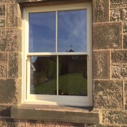 Sash window with joggles and vertical bar design